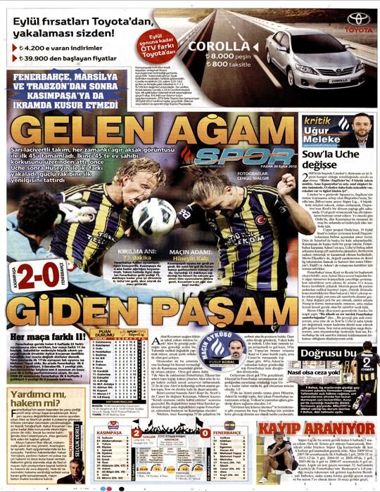 Basında Kasımpaşa-Fenerbahçe manşetleri 10