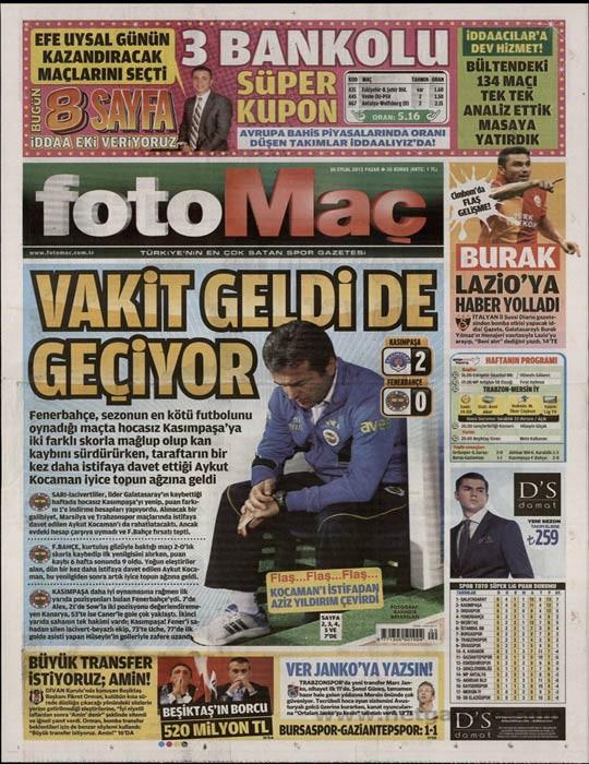 Basında Kasımpaşa-Fenerbahçe manşetleri 11