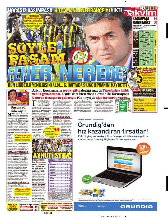 Basında Kasımpaşa-Fenerbahçe manşetleri 7