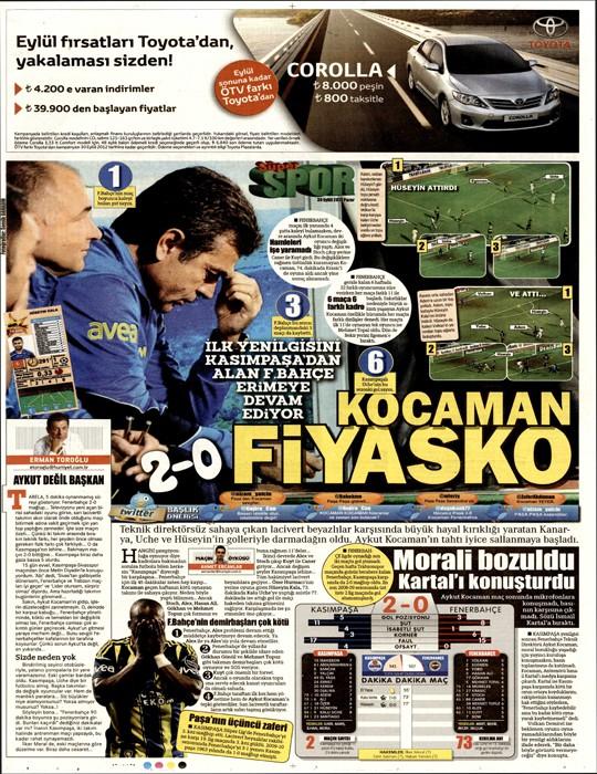 Basında Kasımpaşa-Fenerbahçe manşetleri 8