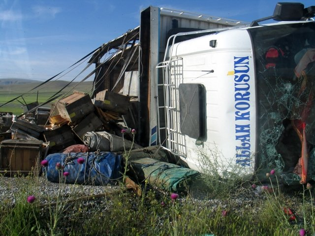 Konyada arı kovanı yüklü kamyon devrildi: 2 yaralı 6