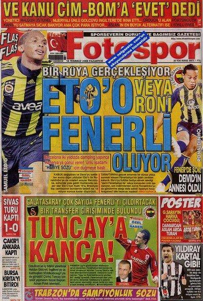 Bir zamanların balon transfer manşetleri 12
