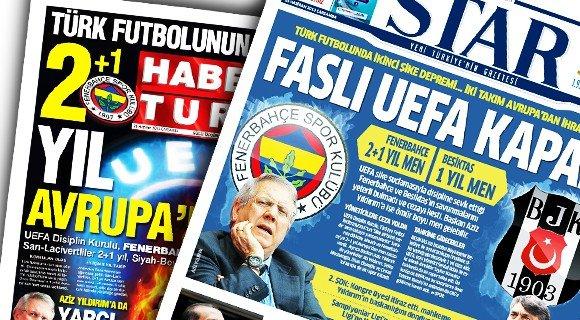 UEFAnın şok kararı gazete manşetlerinde 1
