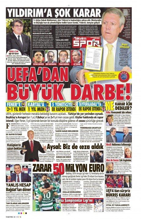 UEFAnın şok kararı gazete manşetlerinde 10
