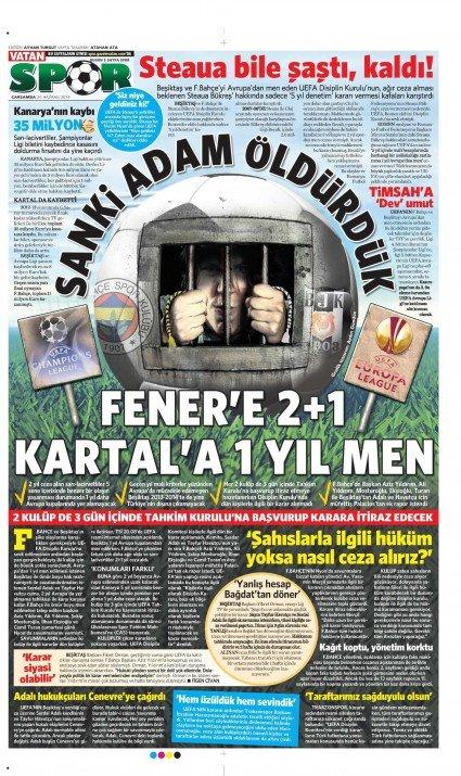 UEFAnın şok kararı gazete manşetlerinde 12