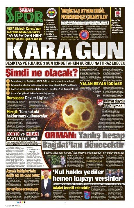 UEFAnın şok kararı gazete manşetlerinde 13