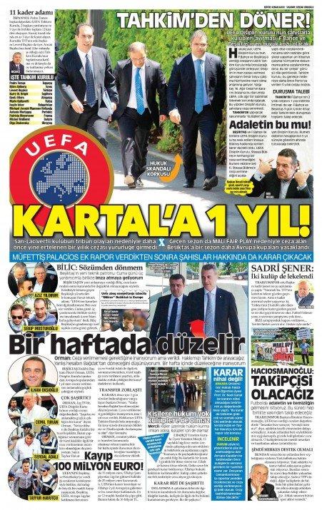 UEFAnın şok kararı gazete manşetlerinde 15