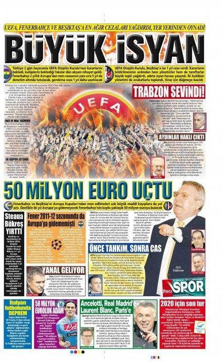 UEFAnın şok kararı gazete manşetlerinde 19
