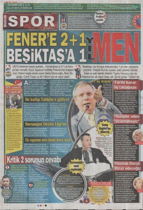 UEFAnın şok kararı gazete manşetlerinde 3
