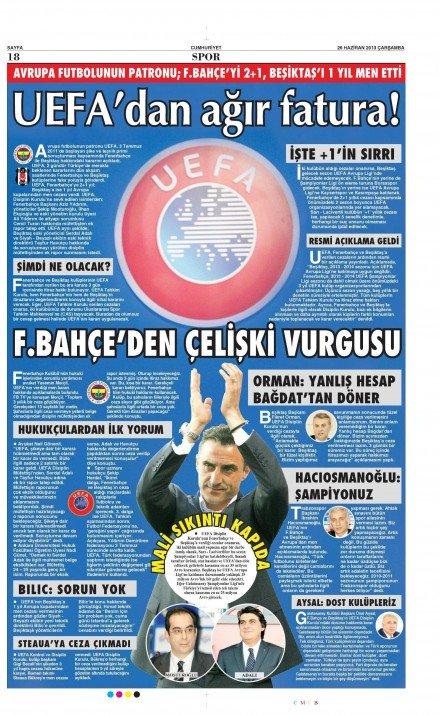 UEFAnın şok kararı gazete manşetlerinde 4