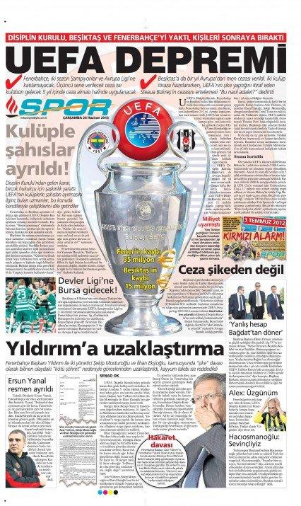 UEFAnın şok kararı gazete manşetlerinde 5
