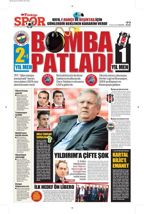 UEFAnın şok kararı gazete manşetlerinde 7