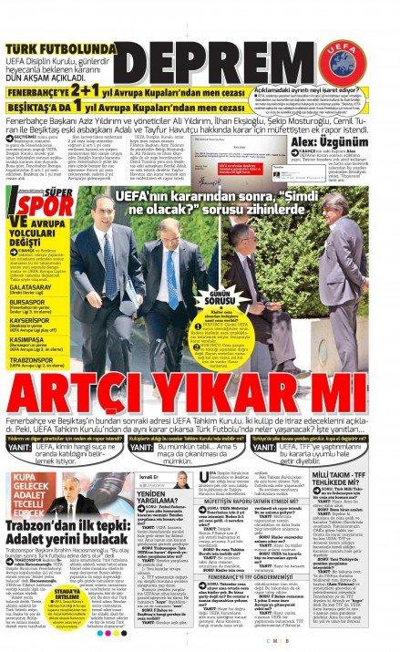 UEFAnın şok kararı gazete manşetlerinde 8