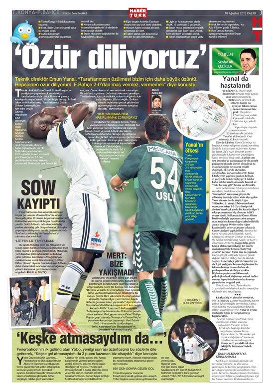 Gazetelerin Konyaspor-Fenerbahçe manşetleri 1