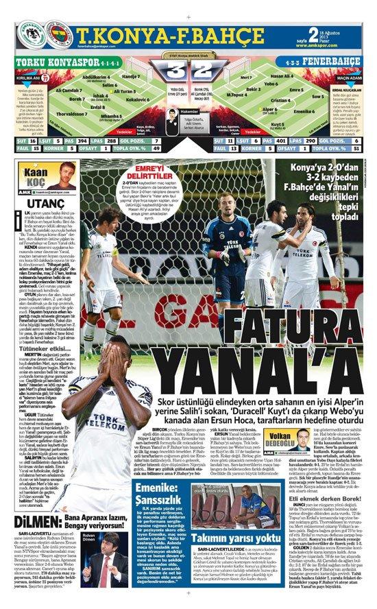 Gazetelerin Konyaspor-Fenerbahçe manşetleri 10