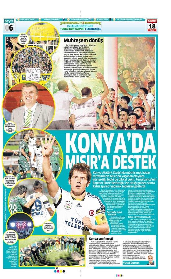 Gazetelerin Konyaspor-Fenerbahçe manşetleri 11
