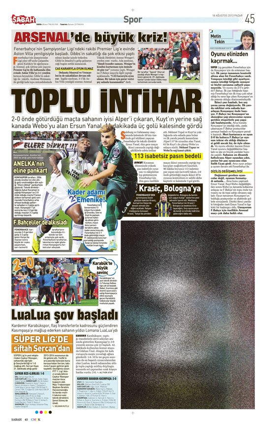 Gazetelerin Konyaspor-Fenerbahçe manşetleri 12