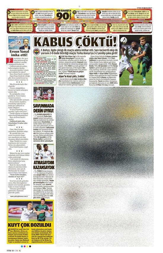 Gazetelerin Konyaspor-Fenerbahçe manşetleri 14