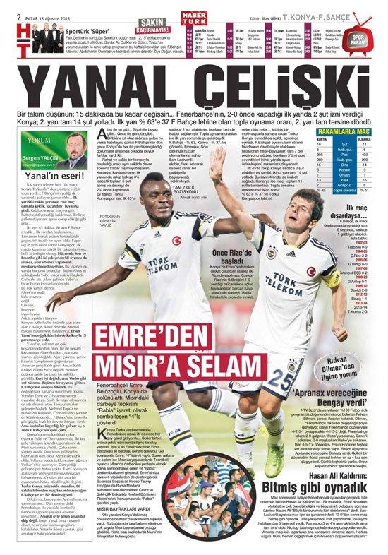 Gazetelerin Konyaspor-Fenerbahçe manşetleri 15
