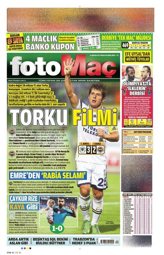 Gazetelerin Konyaspor-Fenerbahçe manşetleri 16