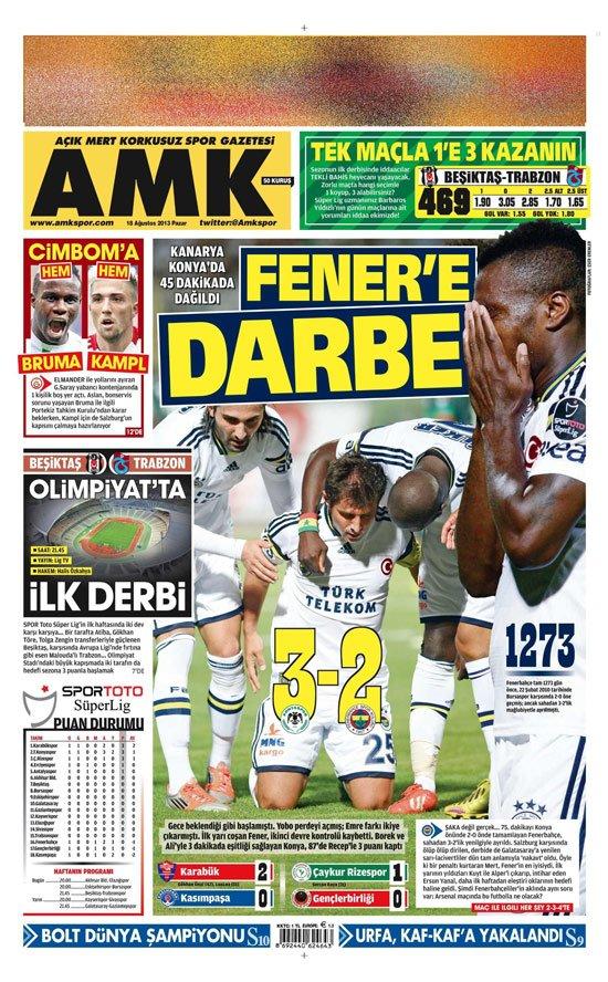 Gazetelerin Konyaspor-Fenerbahçe manşetleri 17
