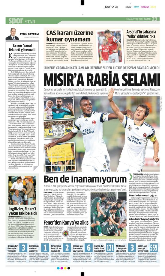 Gazetelerin Konyaspor-Fenerbahçe manşetleri 18