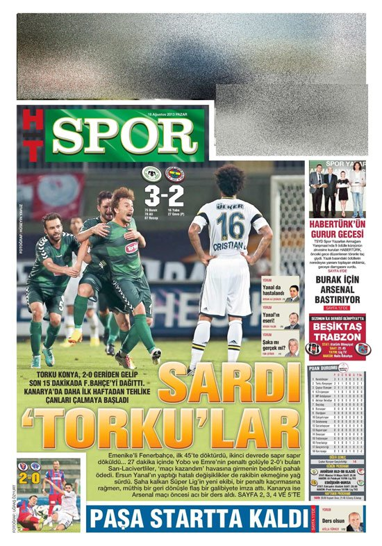Gazetelerin Konyaspor-Fenerbahçe manşetleri 19