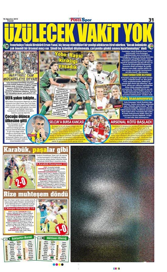 Gazetelerin Konyaspor-Fenerbahçe manşetleri 2