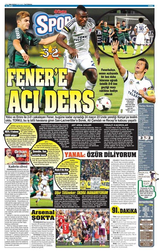 Gazetelerin Konyaspor-Fenerbahçe manşetleri 20