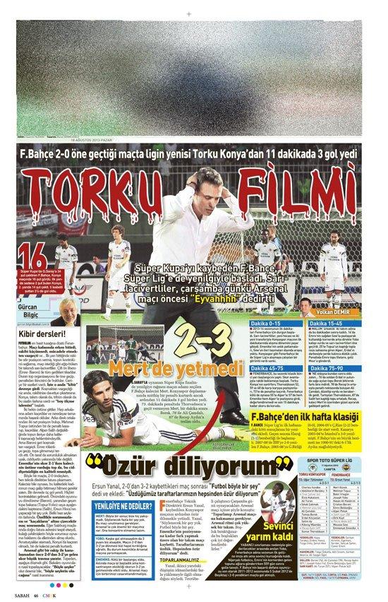 Gazetelerin Konyaspor-Fenerbahçe manşetleri 22