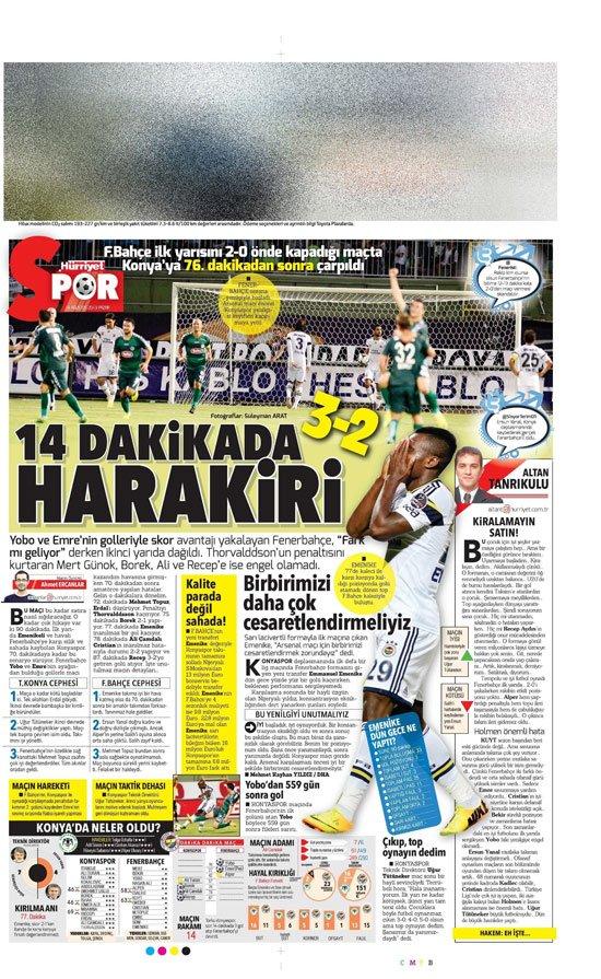 Gazetelerin Konyaspor-Fenerbahçe manşetleri 24