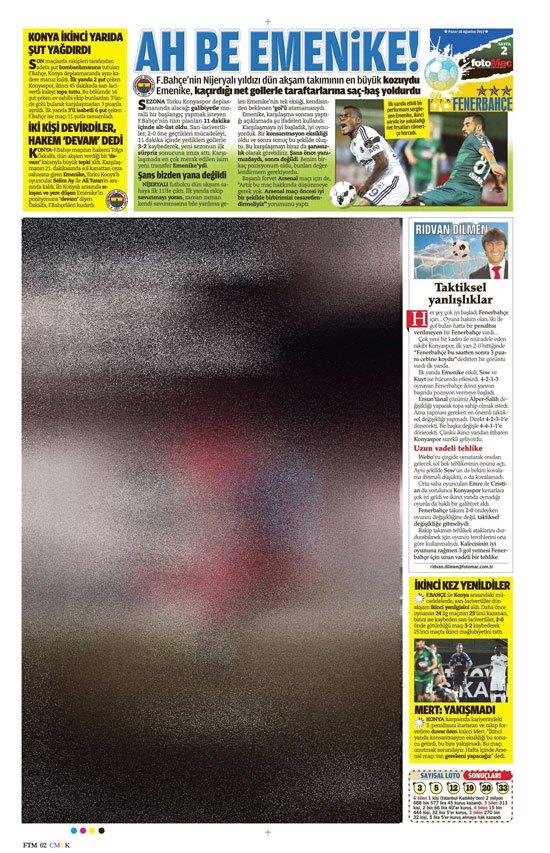 Gazetelerin Konyaspor-Fenerbahçe manşetleri 26