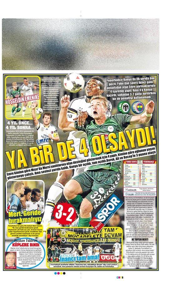 Gazetelerin Konyaspor-Fenerbahçe manşetleri 3