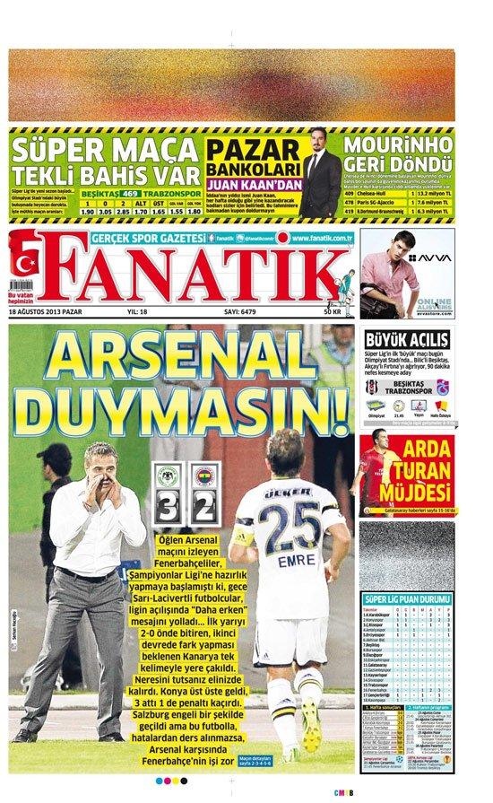 Gazetelerin Konyaspor-Fenerbahçe manşetleri 4