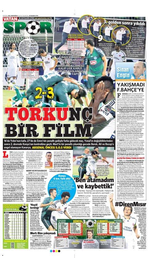 Gazetelerin Konyaspor-Fenerbahçe manşetleri 5