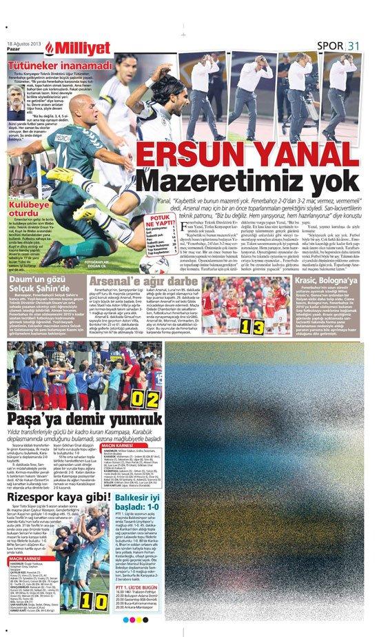 Gazetelerin Konyaspor-Fenerbahçe manşetleri 6