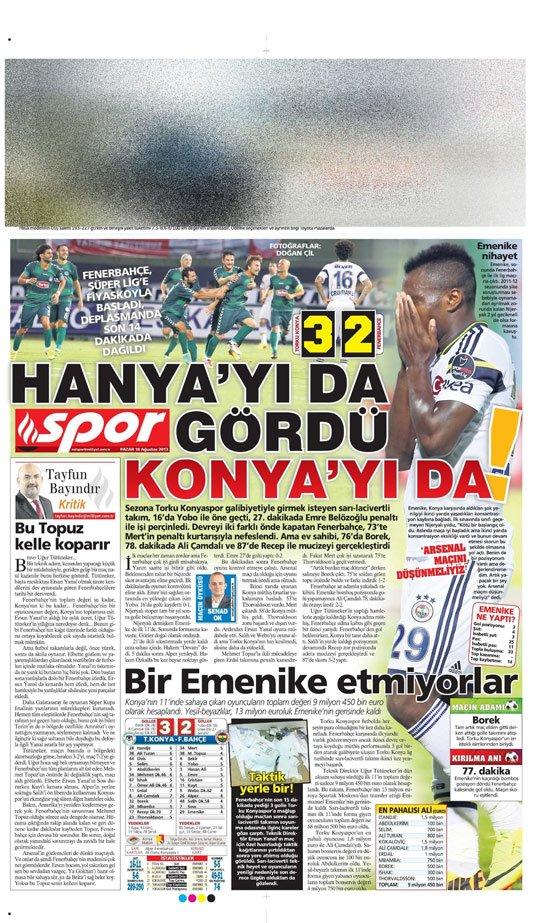 Gazetelerin Konyaspor-Fenerbahçe manşetleri 7