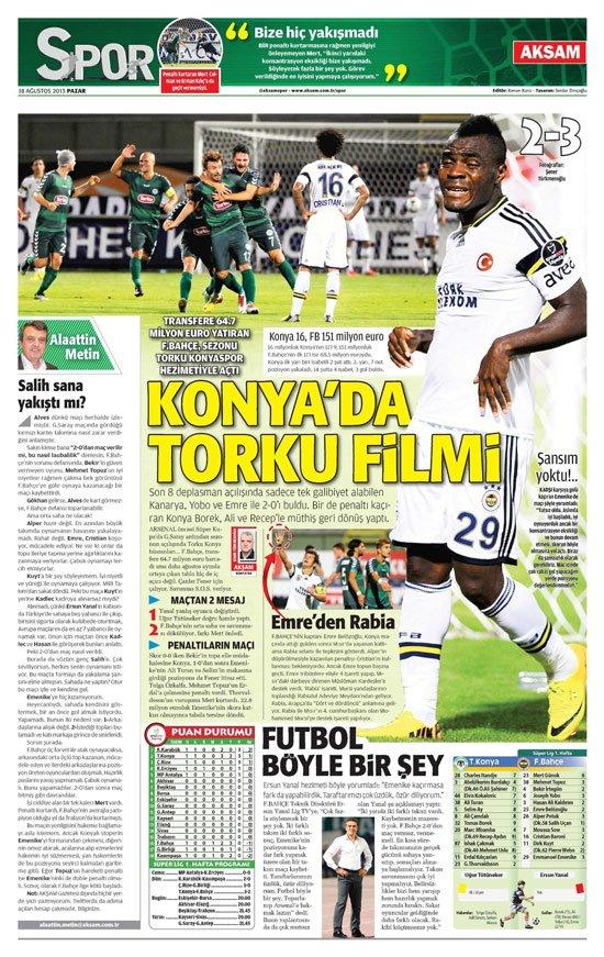 Gazetelerin Konyaspor-Fenerbahçe manşetleri 8