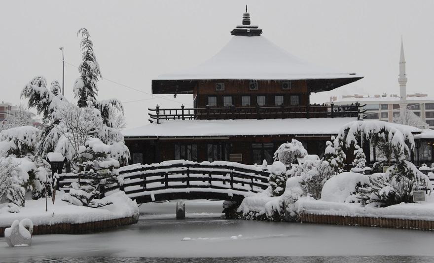 Japon Parkı'nda kar güzelliği 4