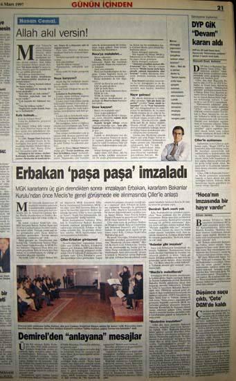 28 Şubat postmodern darbenin utanç manşetleri 67