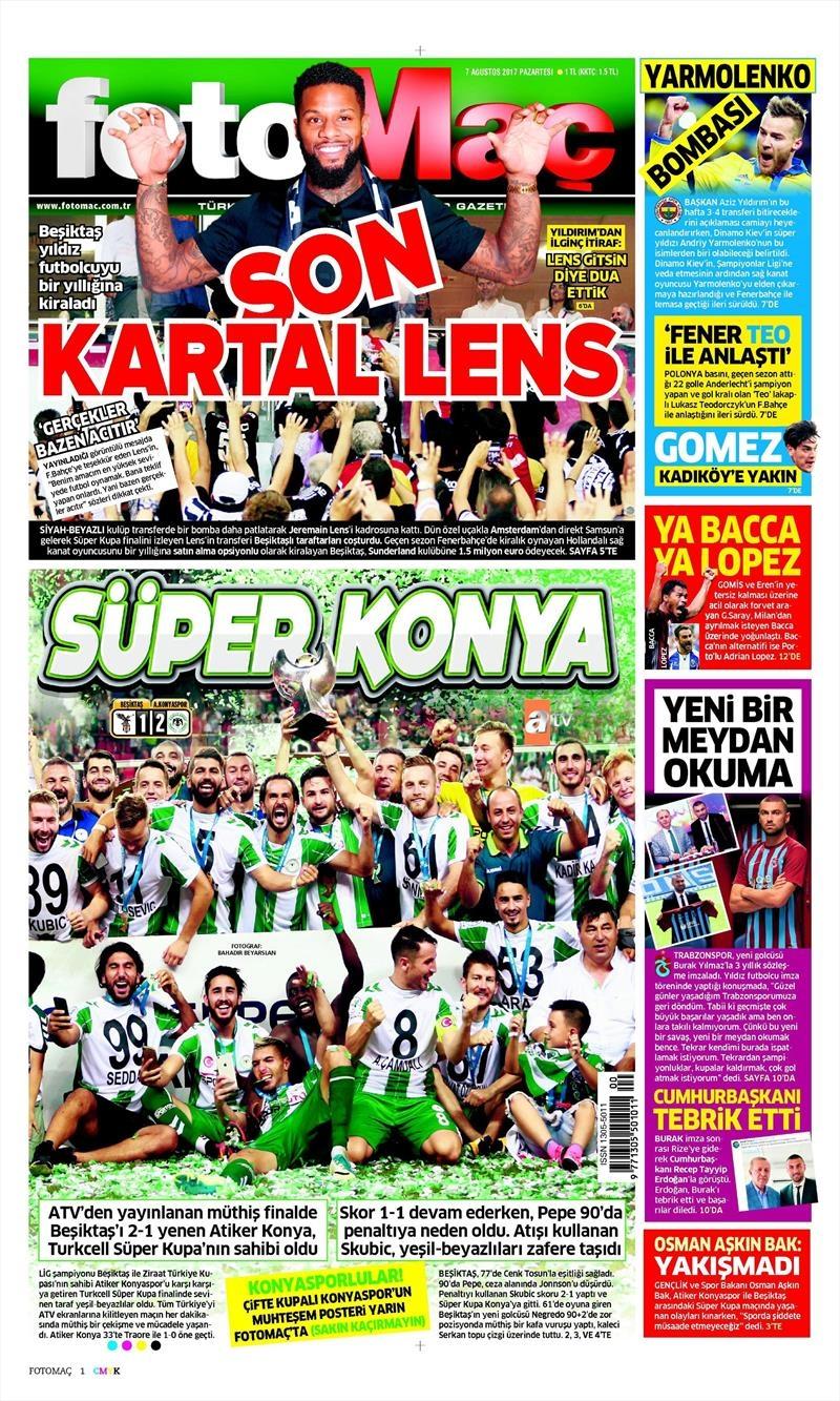 İstanbul basını Süper Kupa Şampiyonluğu böyle yer buldu 3