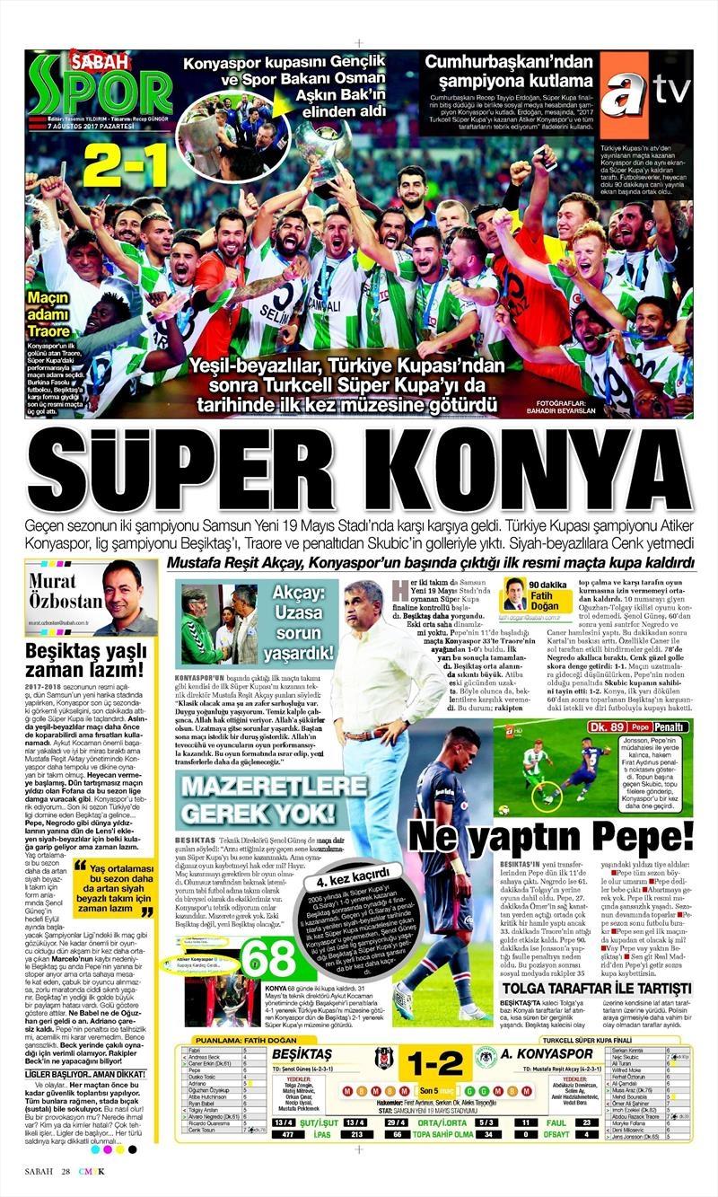 İstanbul basını Süper Kupa Şampiyonluğu böyle yer buldu 6