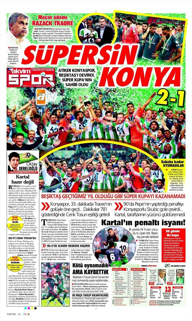 İstanbul basını Süper Kupa Şampiyonluğu böyle yer buldu 7