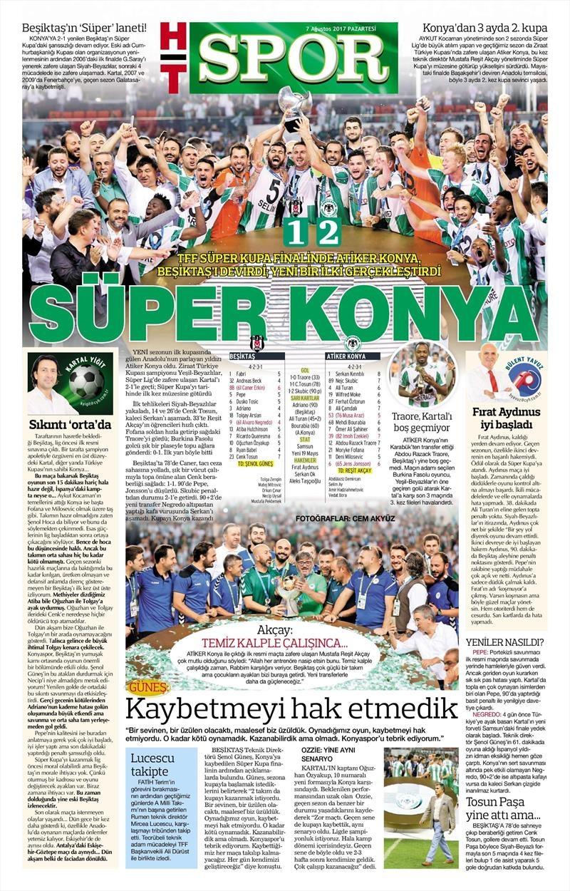 İstanbul basını Süper Kupa Şampiyonluğu böyle yer buldu 8