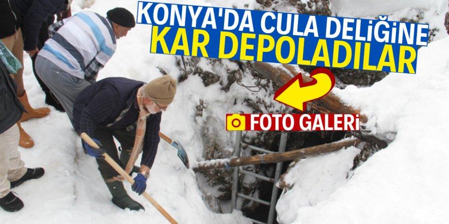 Konya'da yazın kullanmak üzere kar depoladılar