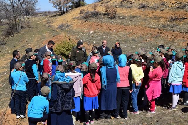 Hadim'de öğrenciler badem fidanı dikti