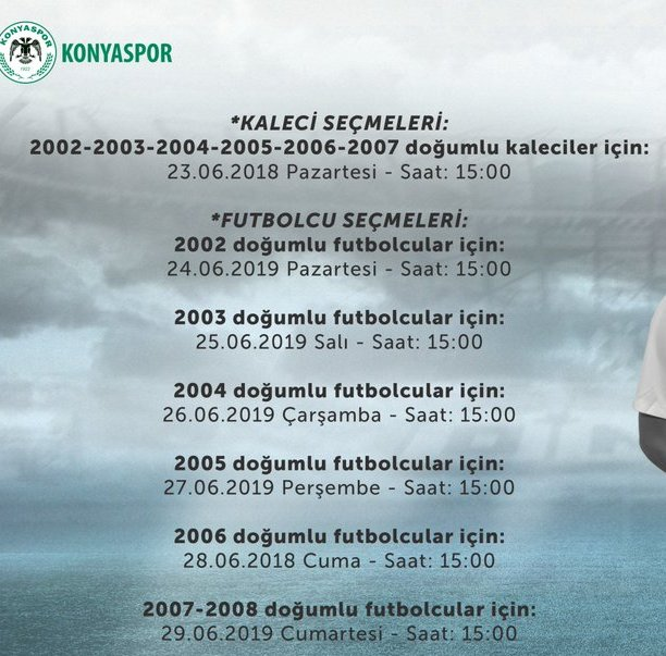Konyaspor'da alt yapı  seçme tarihleri açıklandı