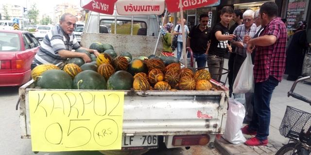 Seydişehir' de karpuz  50 kuruşa düş