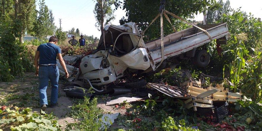 Beyşehir'de sebze yüklü kamyonet devrildi