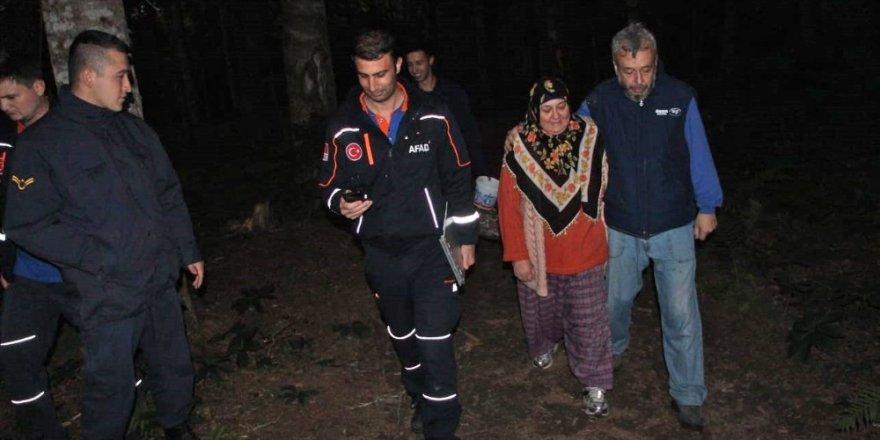 Ormanlık alanda kaybolan kadın 4 saat süren çalışma sonrasında bulundu